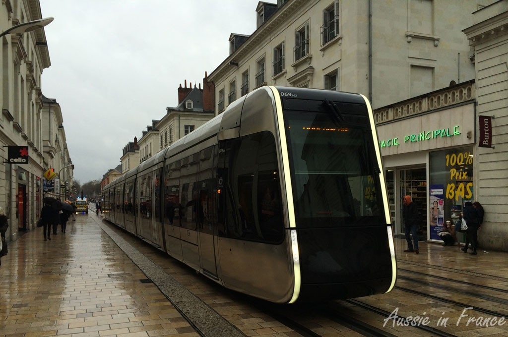 Tram n in the main street of Tours, looking very bleak