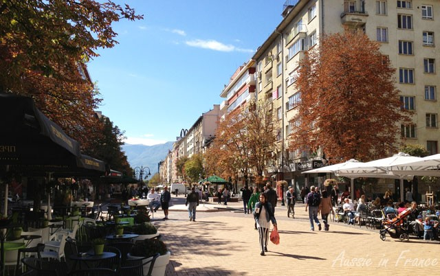 Vitosha Boulevard with Vitosha Mountain in the background