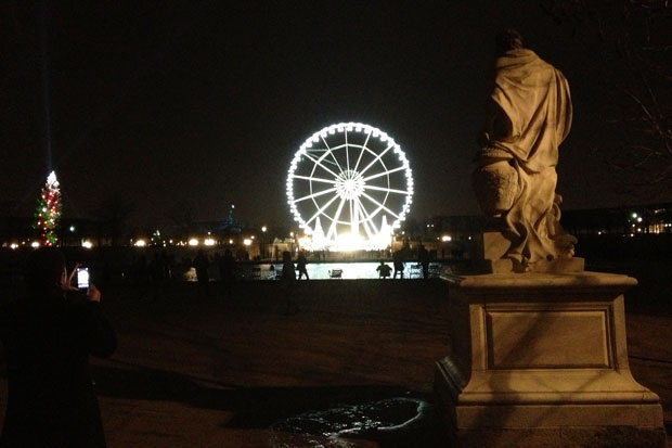 Big wheel from the Tuileries Garden with the biggest Christmas tree in Europe