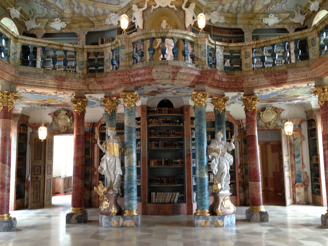 Baroque library in Wiblinger Abbey
