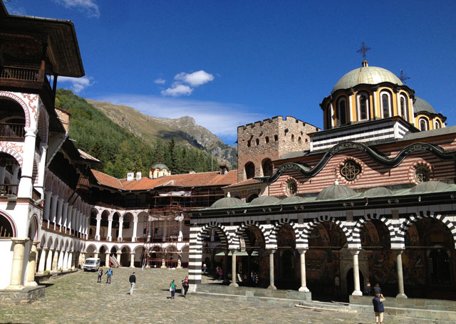 View of Rila Monastery as you walk in