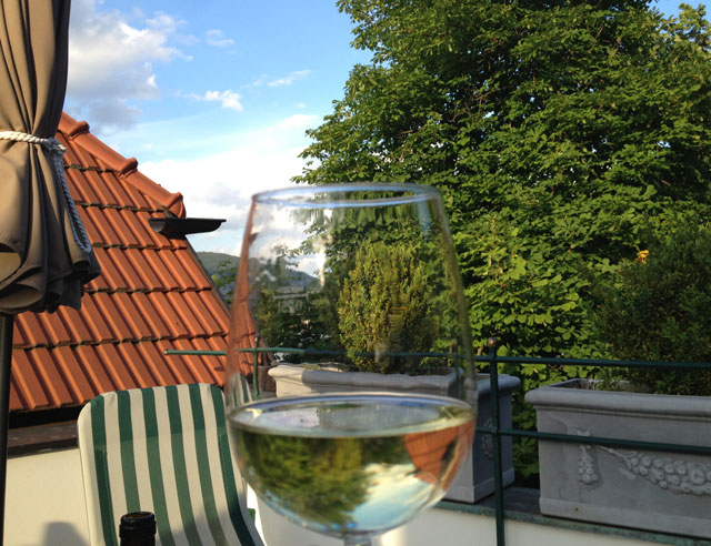 A glass of wine on the terrace in Austria