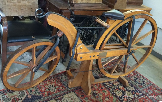 Early wooden bike built in the early 19th century